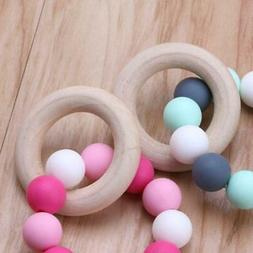 Baby Nursing Bracelets Wooden Teether Silicone Chew Beads Te