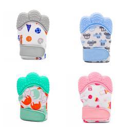 Baby Silicone Mitten Teething Glove AntiBite Sound Teether T