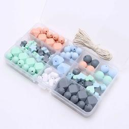 Baby Teether Geometric Silicone Chew Beads Kit DIY Teething