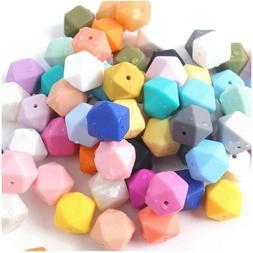 Bulk Hexagon Silicone Beads DIY Baby Chew Necklace Teether J