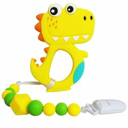 Dinosaur Teething Toys | Baby Teether Toys with Teether Paci