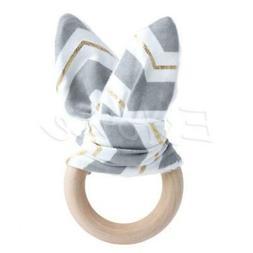 Handmade Wooden Natural Baby Teething Ring Chewie Teether Bu