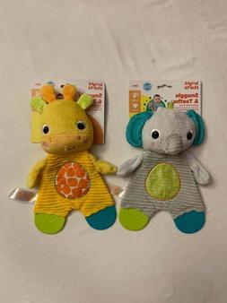 Bright Starts Snuggle Baby Teethers - Giraffe Elephant Crink