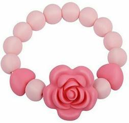 Teething Beads Bracelet Ring for Baby Girl Boy, Handmade Sil