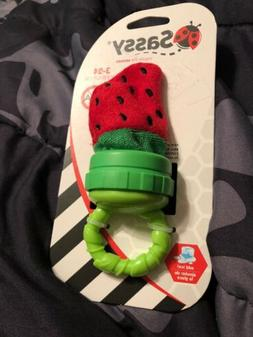 Sassy Terry Teether with Handle, Strawberry
