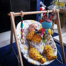 Wooden Baby Play Gym with 3 Gym Teether Toys,  INGODI Mobile